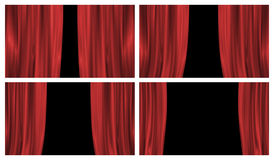 Four classic stage curtains. Set of four red stage or theatre curtains Royalty Free Stock Photography