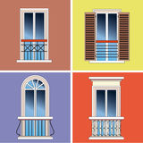 Four classical french balconies Stock Photo