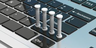 Four classical pillars on a computer keyboard. 3d illustration. Four white classical pillars on a silver computer keyboard. 3d illustration Stock Photography