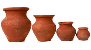 Four clay pot Royalty Free Stock Images