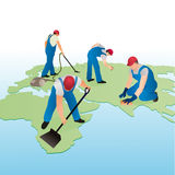 Four cleaners working on the world`s map. Four symbolic cleaners working on the world`s map vector illustration