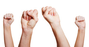 Four clenched fists Royalty Free Stock Images