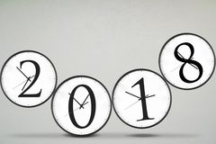 Four clocks with number 2018 Stock Photos