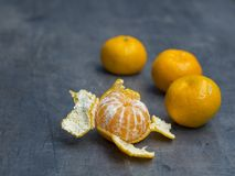 Four close up tangerine mandarin orange one peeled on defocused Royalty Free Stock Photo