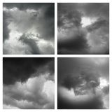 Four cloud formations. Monochrome clouds resembling images for the imagination Royalty Free Stock Images