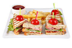 Four Club sandwich with chicken fillet on white serving platter. Stock Photos