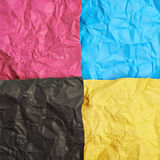 Four CMYK colored paper sheets Royalty Free Stock Images
