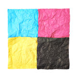Four CMYK colored paper sheets Royalty Free Stock Image