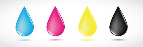 Four CMYK drops primary colors print. Vector illustration EPS10 stock illustration