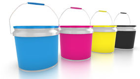 Four CMYK paint buckets Royalty Free Stock Photos