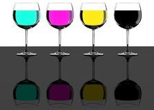 Four CMYK wine glasses Stock Photography