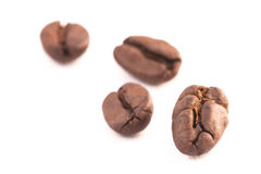 Four coffee beans over the white background Stock Image