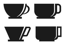Four Coffee cup silhouette stock photography