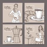 Four coffee house labels with barista, coffee cup, moka pot, croissant and lady client. Great for bakery and restaurant, cafe ads, brochures, labels Stock Images