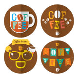 Four coffee icons. Morning coffee theme: cups with coffee, sun and coffee beans royalty free illustration