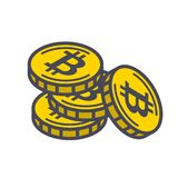 Yellow bitcoin coins Stock Images