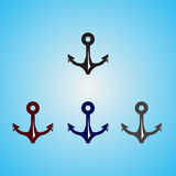 Four Color Anchor. Four Anchor Icon on blue Background Vector Royalty Free Stock Image