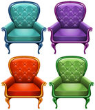 Four color of armchairs Royalty Free Stock Image