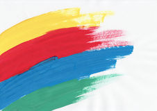 Four color background. Blue, green, red and yellow brushstrokes background Stock Illustration