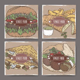Four color banners with crepes and fish, falafel and hamburger sketch. American, European, Asian cuisine. Street food series. Great for market, restaurant Royalty Free Stock Image