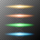 Four color beam lights on gray background. Illustration Stock Photo