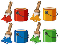 Four color in buckets and paintbrushes Stock Image