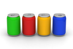 Four color of cans Stock Photography