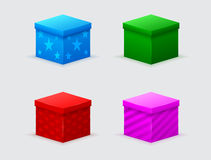 Four color closed gift boxes Royalty Free Stock Photo