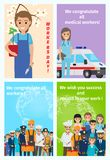 Four Color Congratulatory Cards for All Workers Stock Photo
