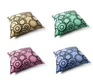 Four color cushion. With circles textures on a white background, isolated royalty free stock photo