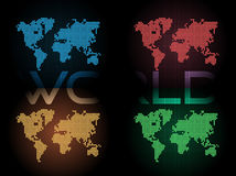 Four Color of Dotted Digital World Maps Stock Image