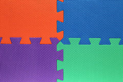 Four color fields with pieces of puzzle Royalty Free Stock Images