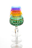 Four color glasses  on a bar counter Royalty Free Stock Photography