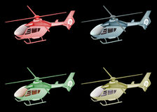 Four color helicopter isolated on black Stock Images