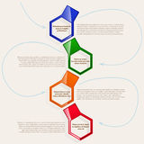 Four color hexagonal frames for text or infographics. Color frames. four hexagonal frames for text or infographics. Description of the process, the sequence of vector illustration