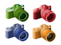 Four Color Illustration of Modern Digital Cameras Stock Photos