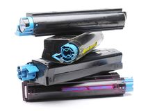 Four color laser printer toner cartridges Royalty Free Stock Photography