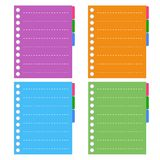 Four Color of  Lined Spiral Notepad Papers with Ta Royalty Free Stock Photography