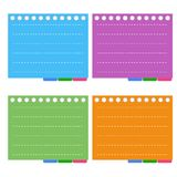 Four Color of  Lined Spiral Notepad Papers with Ta Royalty Free Stock Photo