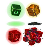 Four color magic cubes with signs isolated. Vector Stock Photos