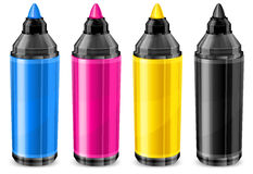 Four color markers stock illustration