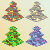 Four color ornate x-mas tree. Set of four different coloring christmas trees with geometric ornate Stock Photos