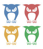 Four color owls Royalty Free Stock Photography