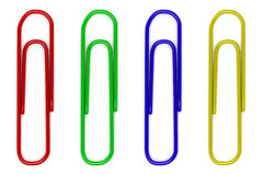 Four color paperclips isolated on white Stock Photography