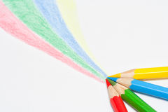Four color pencils lines Stock Photos