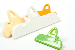 Four color plastic clips Stock Photos