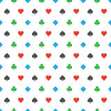 Four-color poker suits pattern. Vector illustration Stock Images