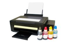 Four Color Printing cmyk.With Clipping Path. Four color printer on white background royalty free stock photo