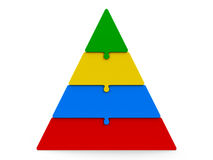 Four color puzzle pyramid. Four color puzzle pieces compose pyramid - represents four steps,  on a white background, three-dimensional rendering, 3D illustration Royalty Free Stock Photos