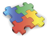 Four color puzzles Royalty Free Stock Photo